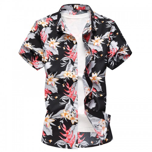 Smmer Hawaii Style Floral Printing Plus Size Leisure Holiday Beach Shirts for Men