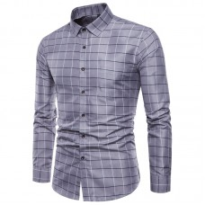 Classic Plaid Slim Fit Long Sleeve Button up Dress Shirts for Men