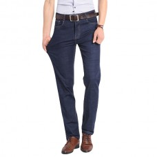 Mens Spring Summer High Rise Loose Straight leg Leisure Business Cotton Jeans