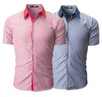 Mens Fashion Vertical Striped Printing Casual Summer Fit Short Sleeve Shirts