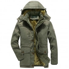 Fleece Warm Plus Thick Winter Hooded Pure Color Pockets Outdoor Windproof Parka Jacket for Men