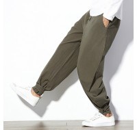 Mens Cotton Breathable Ankle Banded Harem Pants Brand Clothing Casual Trousers