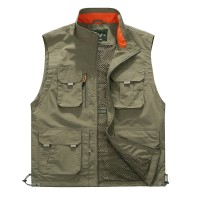 Outdoor Utility Plus Size Multi Pockets Mesh Breathable Photography Fishing Work Vest for Men