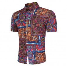 Mens Ethnic Style Printing Turn Down Collar Summer Short Sleeve Casual Fit Shirts