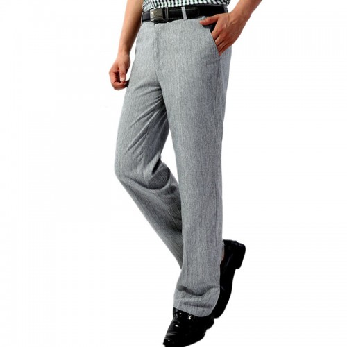 Spring Summer Thin Middle-aged Men's Casual Suits Pants High Waist Loose Straight Business Pants