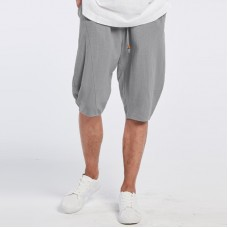 Men's Breathable Cotton Loose Shorts Solid Color Knee Length Drawstring Casual Shorts