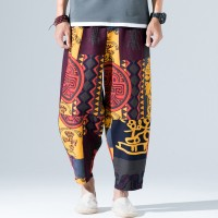 Men's Casual Breathable Baggy Cotton Pants Summer Ethnic Style Printed Loose Wide Leg Pants