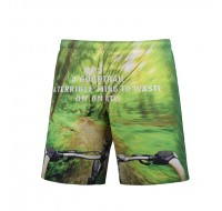 S5259 Beach Shorts Board Shorts 3D Green Forest Bicycle Printing Fast drying Waterproof Elasticity