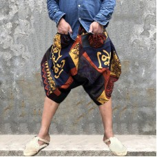 Men's Casual Ethnic Printed Harem Shorts Pants Summer Breathable Loose Crotch Trousers
