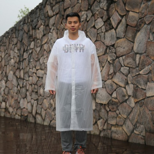 Long Sleeve Cuff Windproof Upgrade Version of One-piece Environmental Protection Transparent Raincoat Average Size (White)