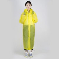 Long Sleeve Cuff Windproof Upgrade Version of One-piece Environmental Protection Transparent Raincoat Average Size (Yellow)