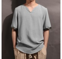 Mens Loose Half Sleeve V-neck Tee Tops Thin Breathable Casual Vintage T-Shirt