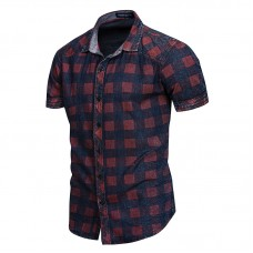 Checkered Pattern Cotton Short Sleeve Shirts for Men