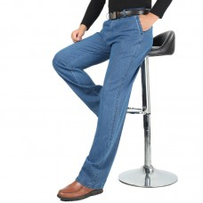Spring Summer Thin Business Casual Straight Leg Elastic Long Jeans for Men