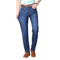 Mens Spring Summer High Rise Loose Business Cotton Blue Jeans
