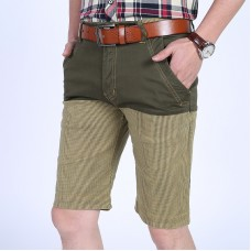 Mens Cotton Splicing Color Blocking Thin Loose Essential Casual Knee-Length Shorts