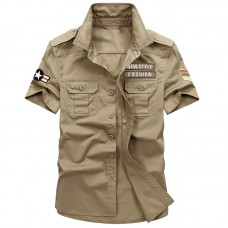 Mens Cotton Breathable Summer Outdoor Embroidery Epaulet Armband Work Shirts