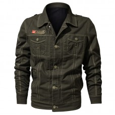 Military Style Cotton Pockets Spring Autumn Work Casual Jacket for Men