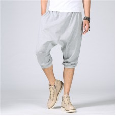 Men's Casual Loose Sports Shorts Pants Summer Solid Color Calf-Length Pants Large Size