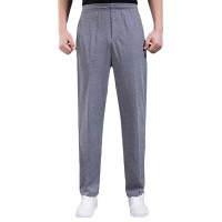 Men's Thin Elastic Sports Pants Solid Color Casual Loose Straight Pants